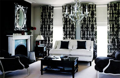 black-and-white-living-room