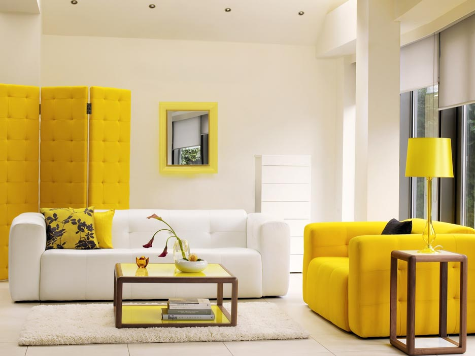Yellow living room decorating idea