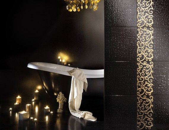 24K Gold Glass Hand Painted Mosaic Tiles… for Your Bathroom