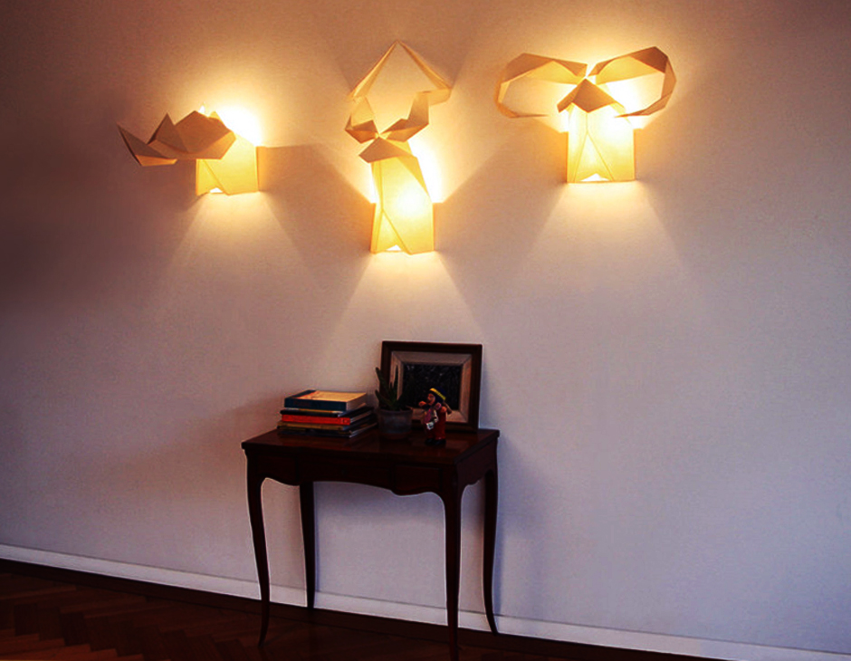 creative lighting idea with origami wall lamps and fixtures » room
